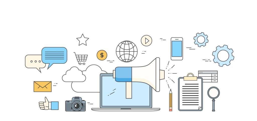 Digital Marketing Laptop Business Megaphone Device  Loudspeaker Web Banner Set Vector Illustration